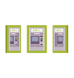 Atm built in a green wall vector