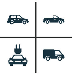 auto icons set collection of carriage car plug vector image