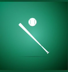 Baseball ball and bat icon on green background vector