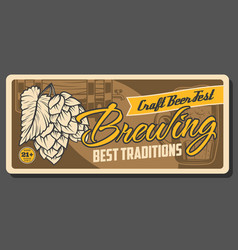 Beer brewing wood barrel craft beer fest vector