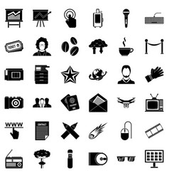 broadcasting icons set simple style vector image