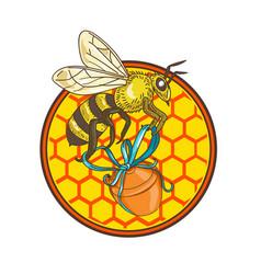 bumblebee carrying honey pot beehive circle vector image