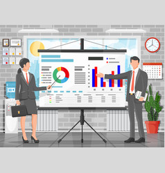 Businesswoman and businessman giving presentation vector