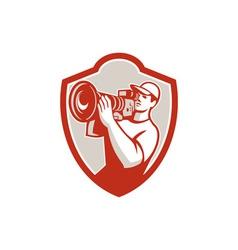 Cameraman Vintage Movie Camera Shield Retro vector