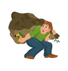 Cartoon man in green top carries huge garbage bag vector