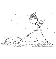 Cartoon of man with snow pusher shoveling the snow vector