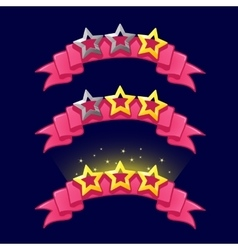 Cartoon stars rank on pink ribbon for game design vector image