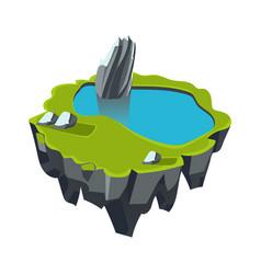cartoon stone isometric island with waterfall and vector image
