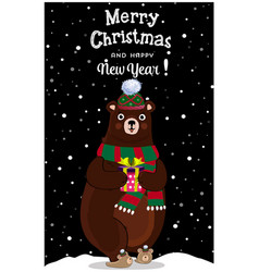 christmas new year greeting card of cute cartoon vector image
