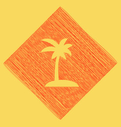coconut palm tree sign red scribble icon vector image