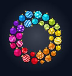 Collection colorful christmas glass balls on dark vector