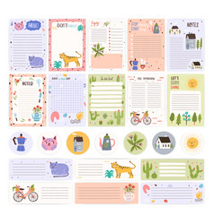 collection of weekly or daily planner pages or vector image