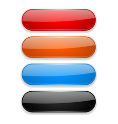 colored oval buttons 3d glass menu icons vector image