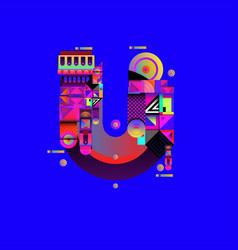 Colorful alphabet font letter u for logo vector