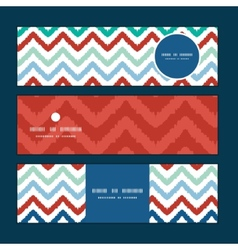 Colorful ikat chevron horizontal banners set vector