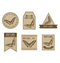 Craft labels vintage design with of vector