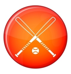 Crossed baseball bats and ball icon flat style vector