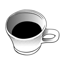 cup of coffee in halftone style vector image