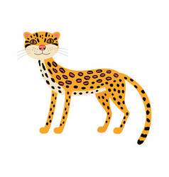 cute animals ocelot cartoon wild cat isolated on vector image