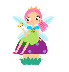Cute fairy sitting on mushroom cartoon little vector