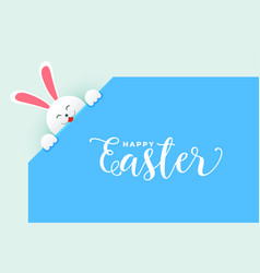 cute rabbit bunny peeping out easter day poster vector image