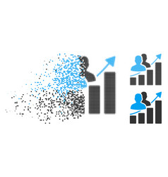 Disintegrating pixel halftone audience growth bar vector