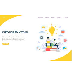Distance education website landing page vector