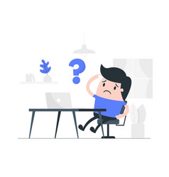 doubtful man working from home vector image