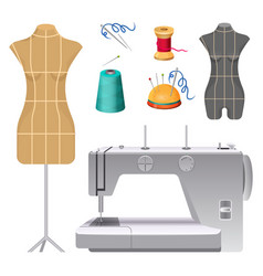 Dummies for clothes and modern electric sewing vector