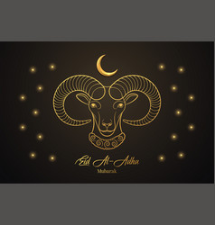 Eid al adha mubarak muslim holiday feast of vector