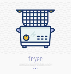Electronic deep fryer thin line icon vector