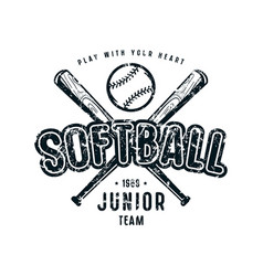 emblem softball junior team vector image