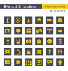 Events and entertainment yellow and grey icons vector