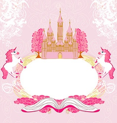 Fairy castle appearing from the book - abstract vector