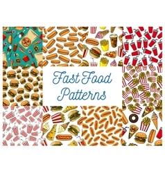 Fast food menu seamless patterns set vector image