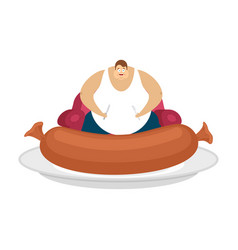 fat guy is sitting on chair and sausage glutton vector image