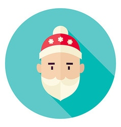 Flat Design Santa Claus Face Circle Icon vector image