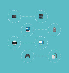 Flat icons datacenter printer display and other vector