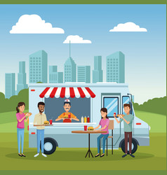 food truck and customers vector image