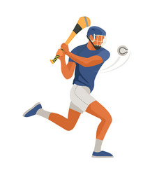 gaelic game player play irish hurley sport vector image