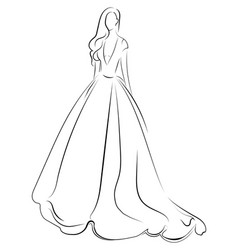 girl in a dress linear outlines of a female vector image