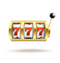 golden slot machine with lucky three sevens vector image
