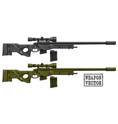 Graphic detailed sniper rifle with ammo clip vector