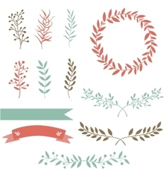 Hand drawn set design elements brunch wreath vector image