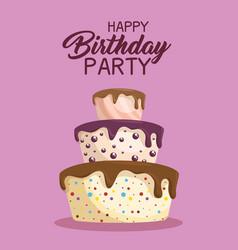 happy birthday cake card vector image
