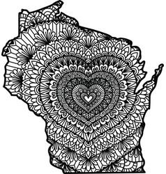Heart in wisconsin state vector
