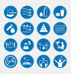 Icon set obesity and health concept blue vector