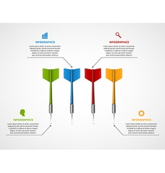 Infographic template target with darts vector image