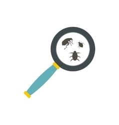 Insect parasites under magnifying glass icon vector image