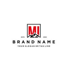 Letter mi mountain logo design vector